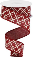"1.5""  Thick/Thin Diagonal Check Ribbon- Burgundy/Ivory  SKU RGA150505"