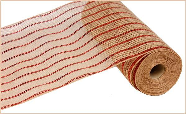 "10"" Poly Jute Metallic Mesh- Red/Natural SKU RY800624"