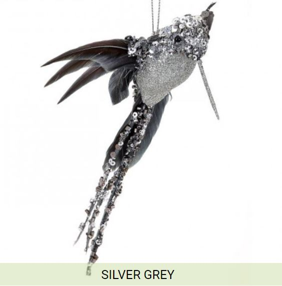 "8"" Glittered Sequin Beaded Hummingbird Ornament-Silver/Grey  SKU MTX62525 SIGY"