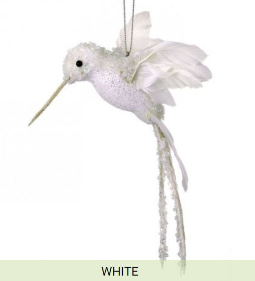 "8"" Glittered Sequin Beaded Hummingbird Ornament-White  SKU MTX62525 WHT"