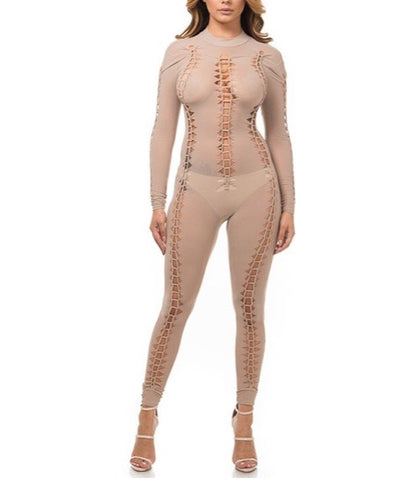 Tan Sheer Jumpsuit