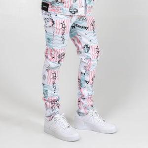 Scribbles V2 Denim Pant In White