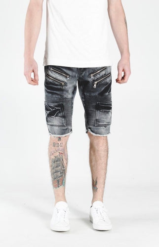 Lee Biker Shorts (Black Acid Wash)