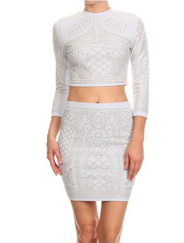 2 Piece Studded Skirt Set (White)