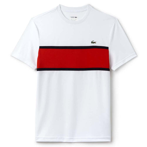 Sport Ultra Dry T-Shirt W/ Color Block Detail (White/Etna Red/Navy Blue)