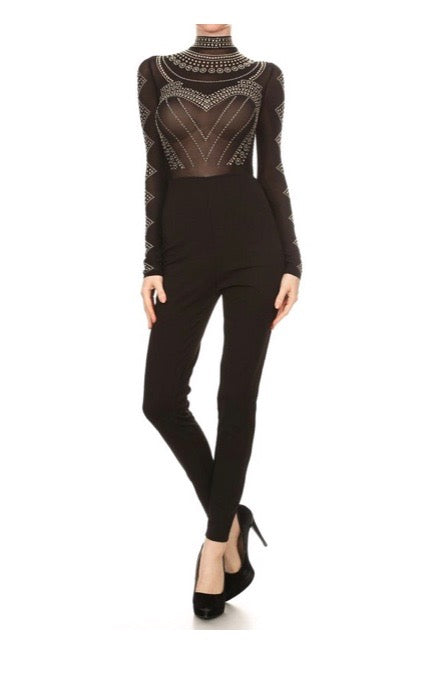 Studded Long Sleeve Jumpsuit