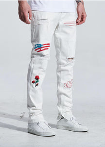 Paint N' Roses Standard Denim In White