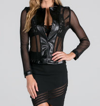 Load image into Gallery viewer, Sheer Collard Jacket • Plus Size (Available in Black or Red)