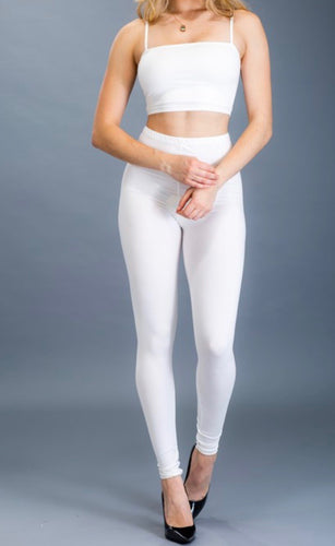 Crop Top & Leggings Set (White)