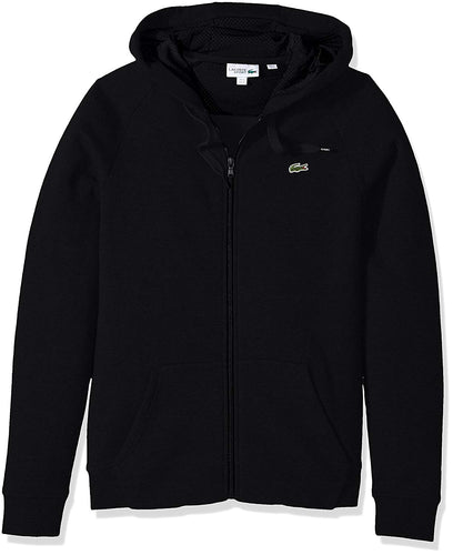 Brushed Fleece Full Zip Hoodie Sweatshirt W/ 3D Print On Hood (Black)