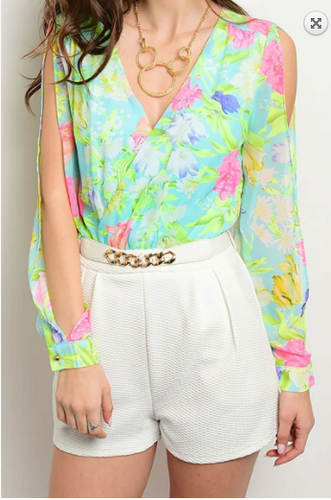 Floral Romper With Chain Belt