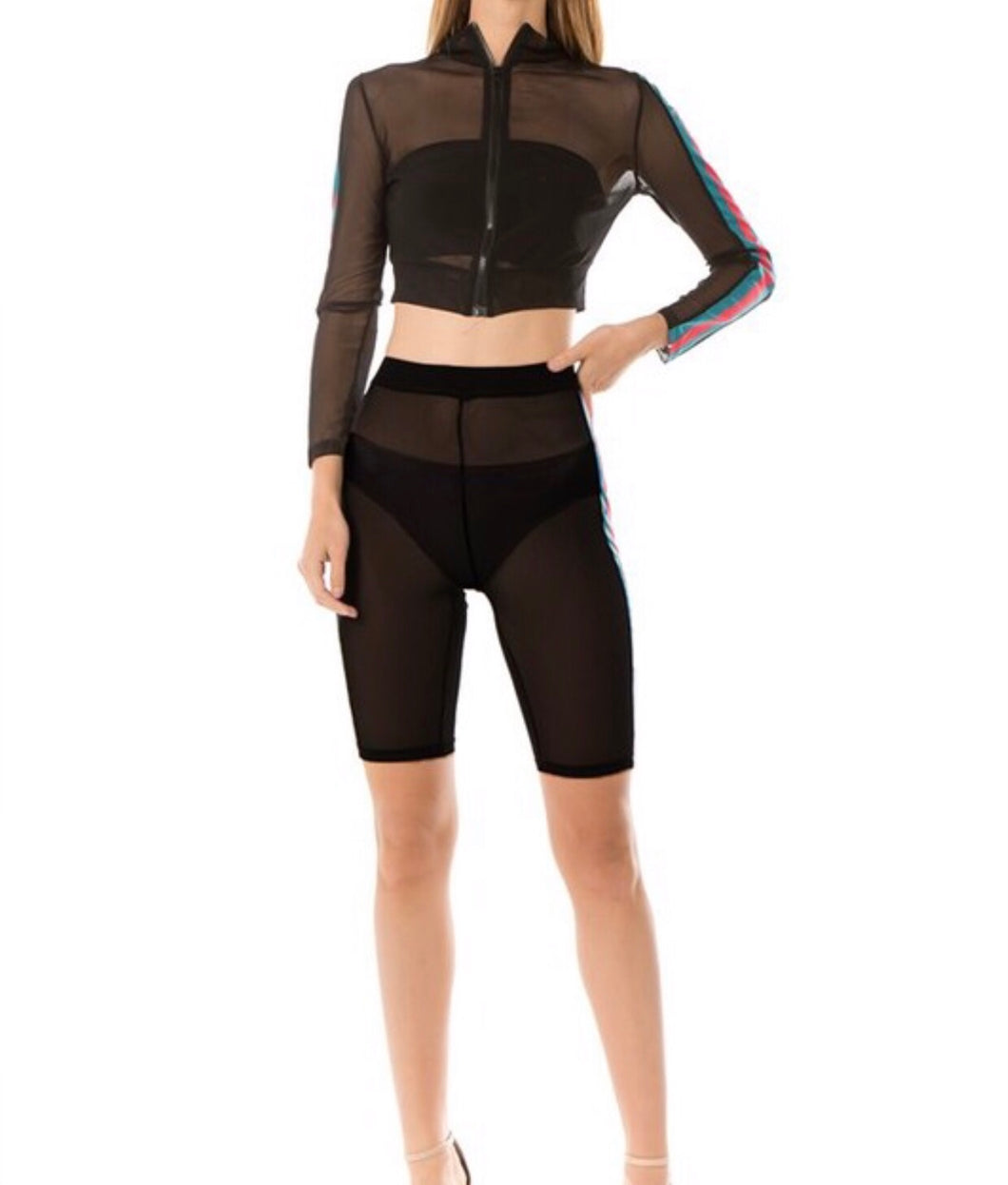 See Through Sexy Look Stripes Print Front Zipper Shorts Pairing Regular Fit in Black