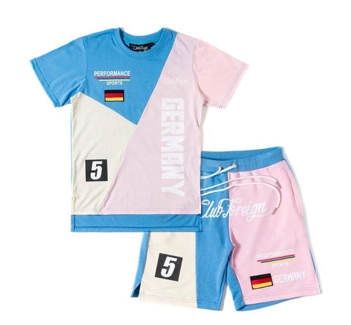 Club Foreign Performance T-Shirt and Shorts Set Blue/Pink/Beige