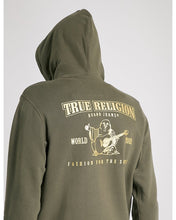Load image into Gallery viewer, Metallic Double Puff Hoodie (Military Green W/ Gold Print)