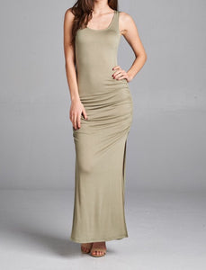 Sleeveless Slit Maxi Dress (Light Olive)