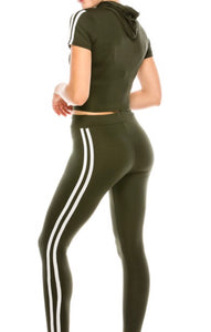 2 Piece Cropped Hoodie and Pants Sports Set (Olive)