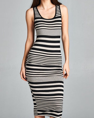 Sleeveless Stripe Mid Length Dress (Black/Oatmeal)