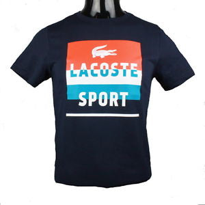 Sport Lacoste Sport Color Block Graphic Tee (Navy/Etna Red/White)