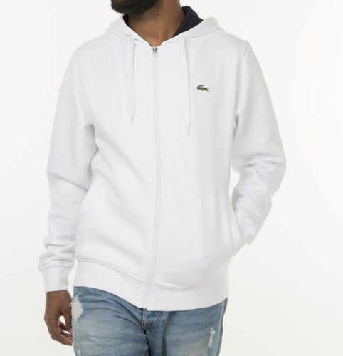 Sport Full Zip Hoodie Fleece Sweatshirt (White)