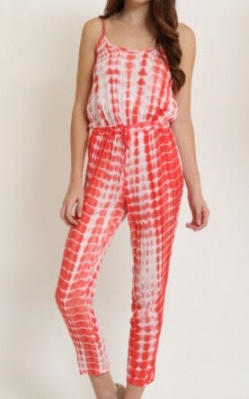 Red/White Tie Dye Jumpsuit