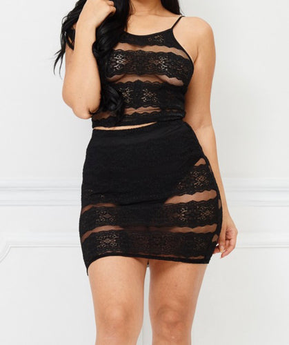 2 Piece Lace Skirt Set In Black