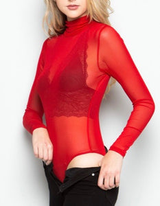 Sheer Long Sleeve Bodysuit (Red)
