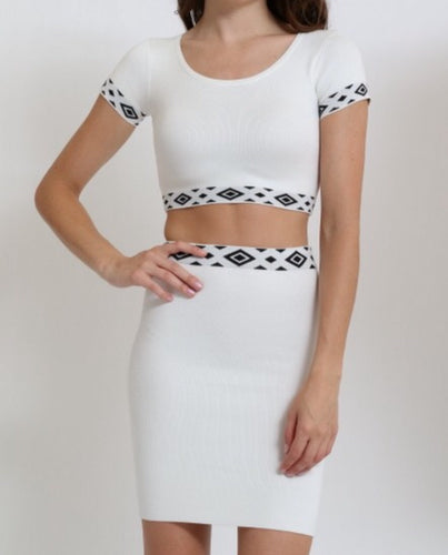 2 Piece Tribal Skirt Set (White)