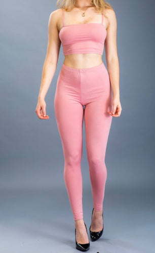 Crop Top & Leggings Set (Mauve)