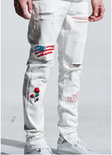 Load image into Gallery viewer, Paint N' Roses Standard Denim In White