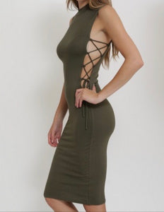 Side Tie Up Dress (Olive)