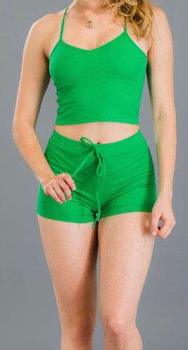 Ribbed Crop Top & Shorts Set (Kelly Green)