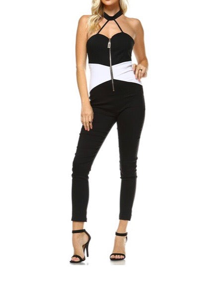 Black & White Zip Front Jumpsuit