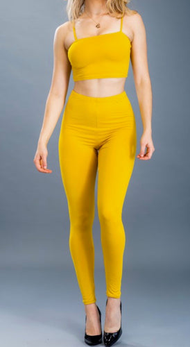Crop Top & Leggings Set (Mustard)