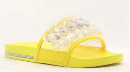 Women's Rhinestone Flat Slide Sandals in Yellow