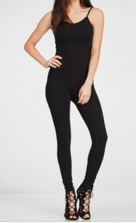 Solid Full Length Jumpsuit (Black)