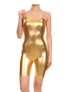 Metallic Bike Short Length Jumpsuit w/ Spaghetti Straps (Gold)
