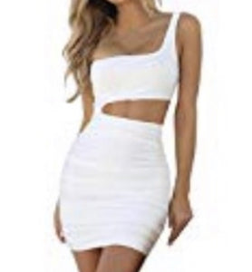 One Shoulder Mini Dress (White)