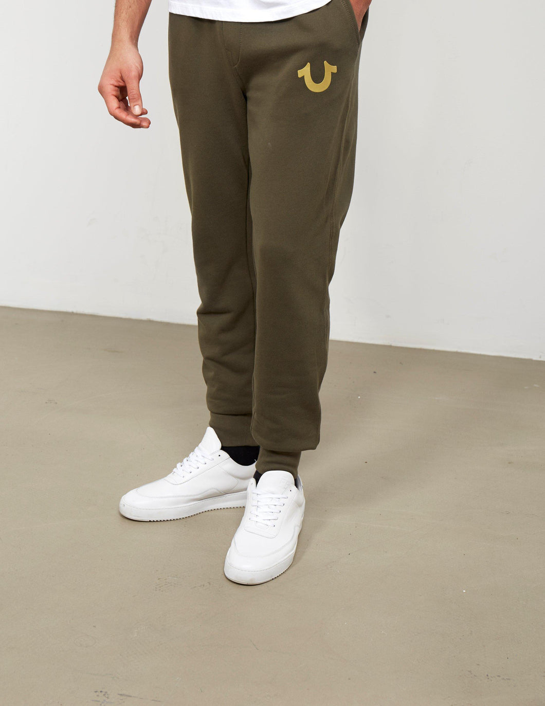 Double Puff Cuffed Sweatpant (Military Green W/ Gold Print)