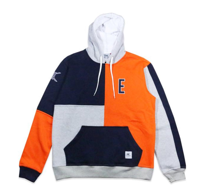 E Block Hoodie Orange and Navy