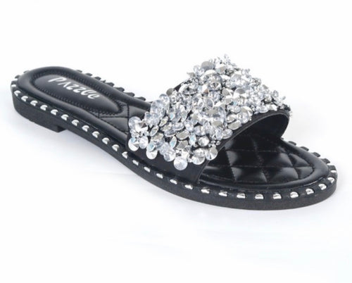 Crystal Flat Slide Sandals in Black
