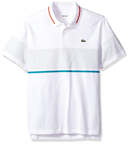 Chest Stripe Super Light Knit Polo (White/Etna Red/Oceanie)