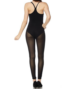 Mesh Leg Catsuit In Black