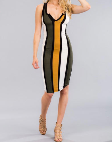 Stripe Split Neck Dress (Camel)