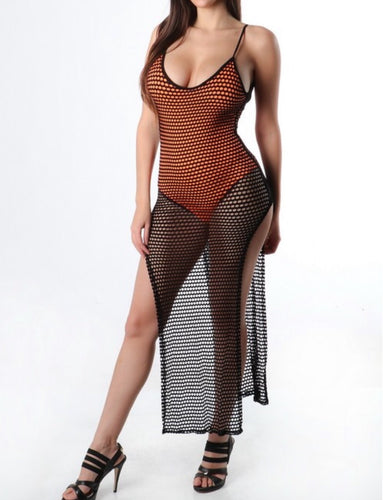 See-Through Fish Net Overlay w/ Orange Bodysuit Attached Under (Black)
