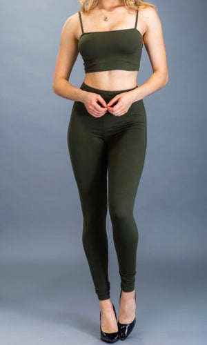 Crop Top & Leggings Set (Olive)