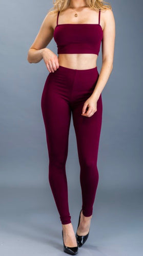 Crop Top & Leggings Set (Burgundy)