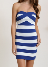 Load image into Gallery viewer, Strapless Mini Dress (Blue/White)