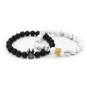 His And Hers Crown Stone Bracelet (2-1 Value)
