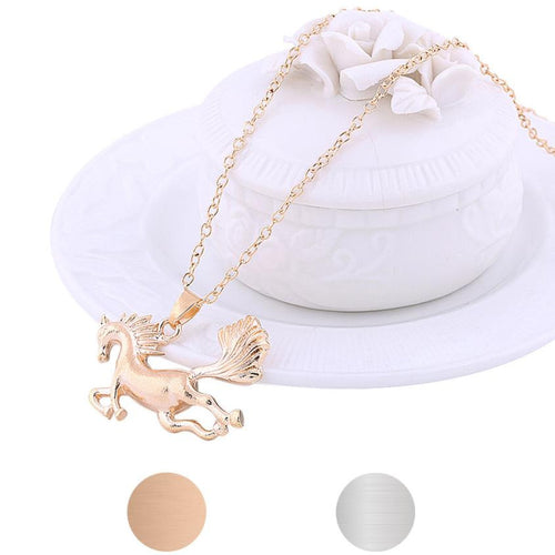 Plated Chain Necklace for Women come in Silver/Gold (Jewelry Running Horse Pendant)