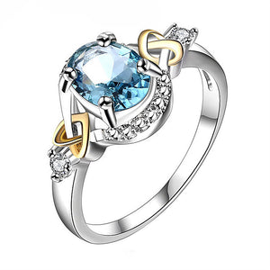 Alloy Promise Ring with Blue Crystal